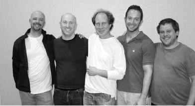 Winners of the Roth Open Swiss Teams: Geoff Hampson, John Diamond, Fred Gitelman, Eric Greco and Brad Moss.
